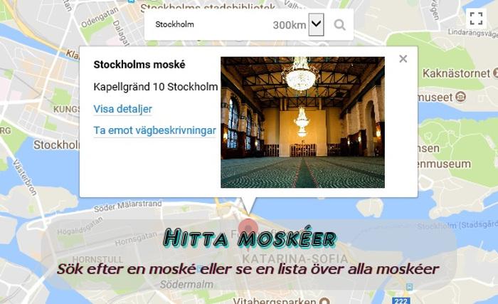 Hitta moskéer